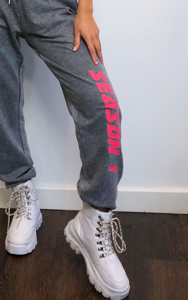 PRETTYLITTLETHING Charcoal Season Printed Joggers 3
