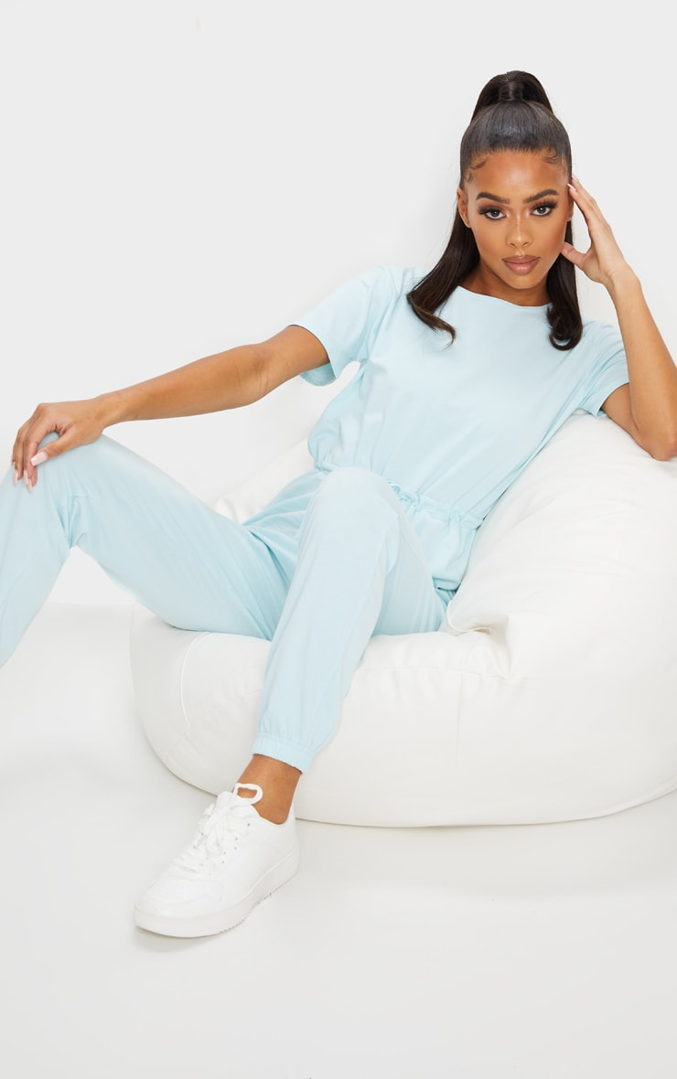 Pastel Blue Cotton Elastane Short Sleeve Jumpsuit 3