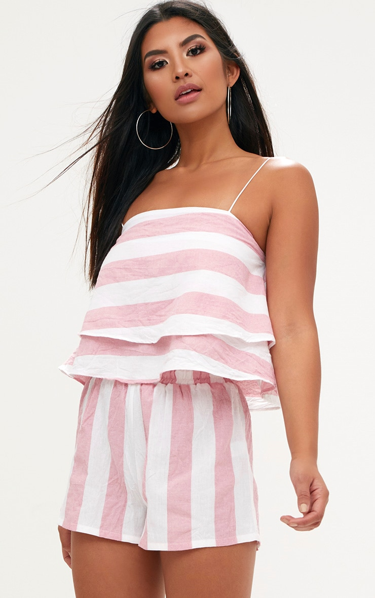 Pink Bold Stripe Beach Shorts  1