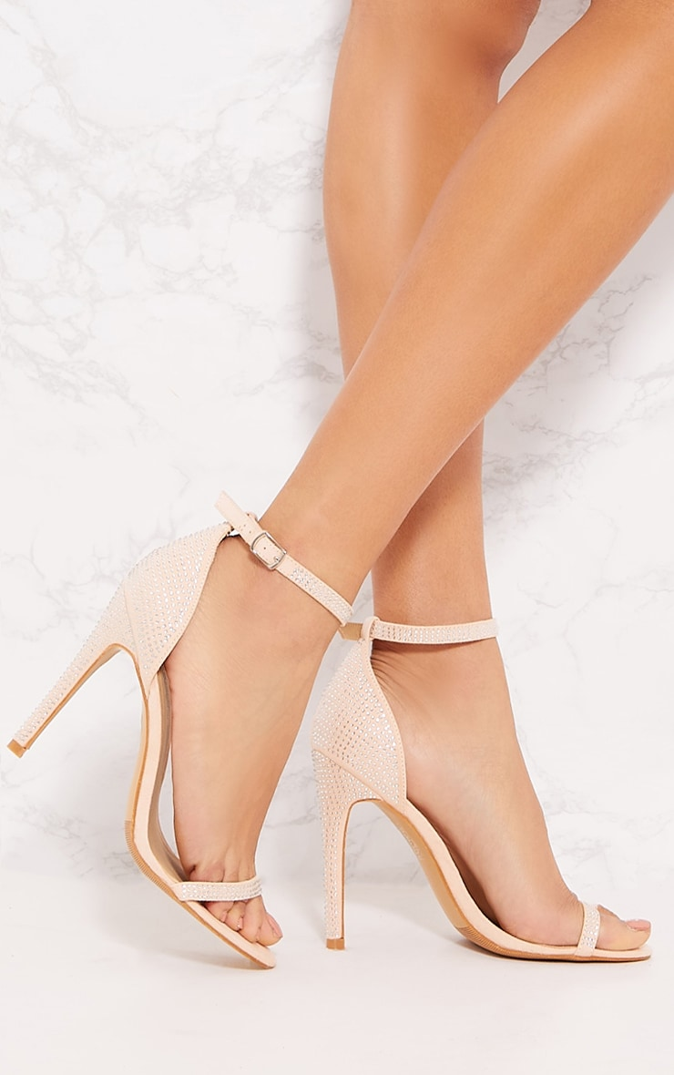Nude Diamante Barely There Heel Sandal 1