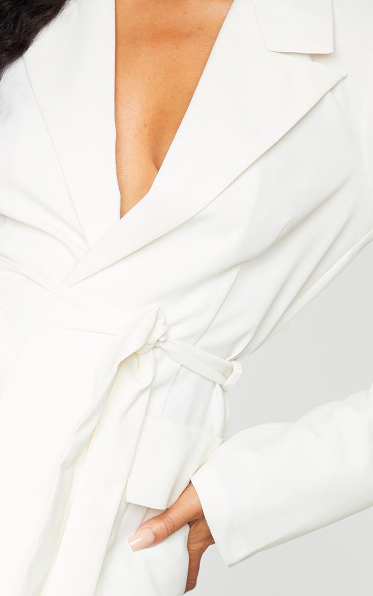 Cream Cargo Detail Tie Blazer 4