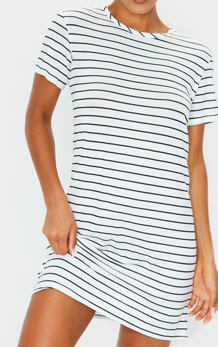 White and Black Striped Basic Short Sleeve Round Neck T Shirt Dress 4