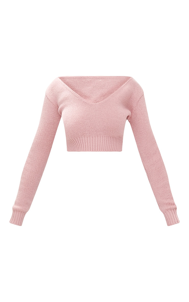 Blush V Neck Off Shoulder Soft Knitted Crop Jumper 3