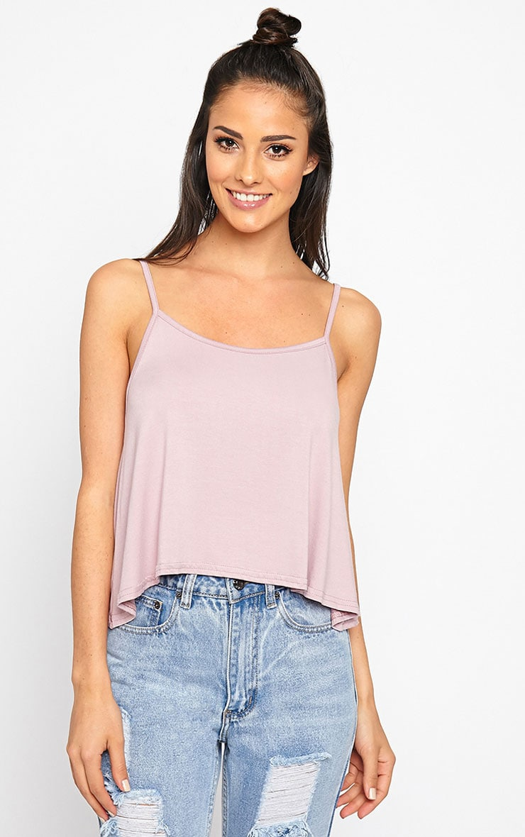 Basic Mauve Jersey Swing Cami Top 1