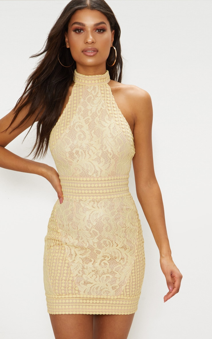 Lemon High Neck Lace Crochet Bodycon Dress 1