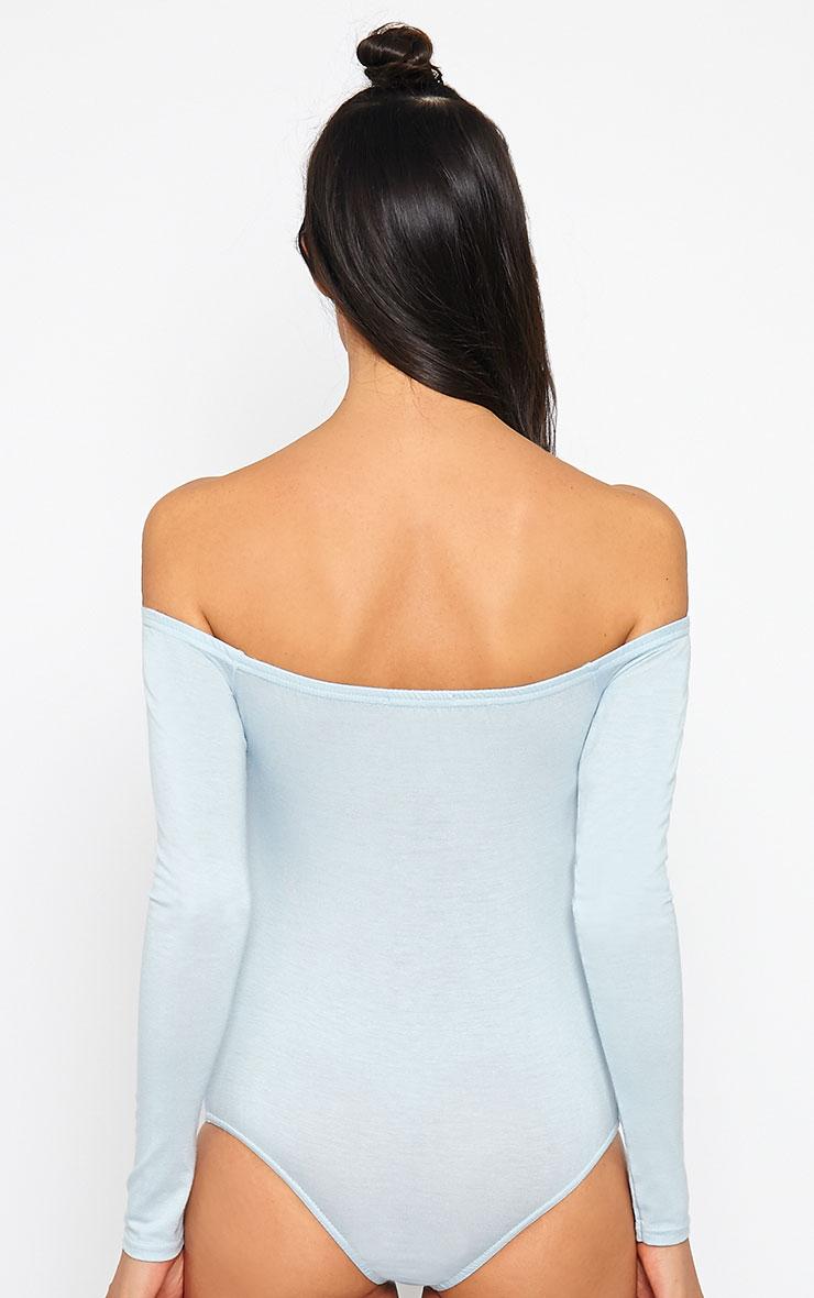Basic Powder Blue Bardot Bodysuit 5