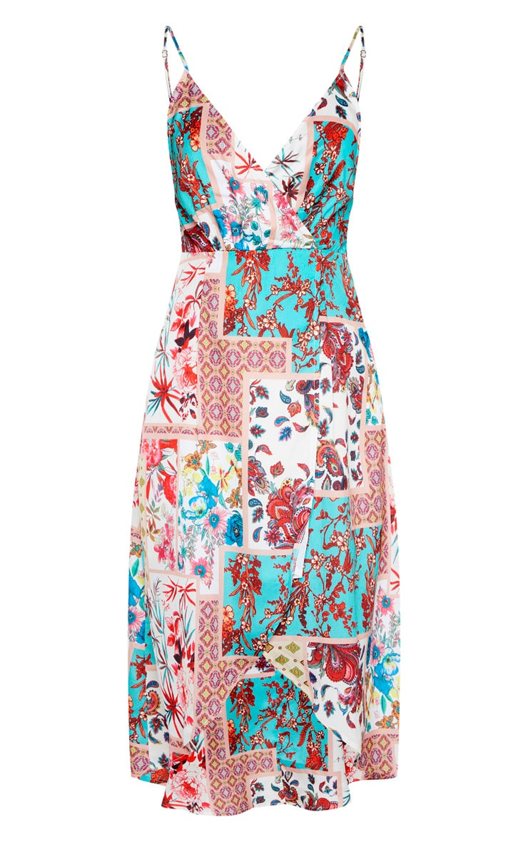 Multi Tile Print Wrap Midi Dress 3