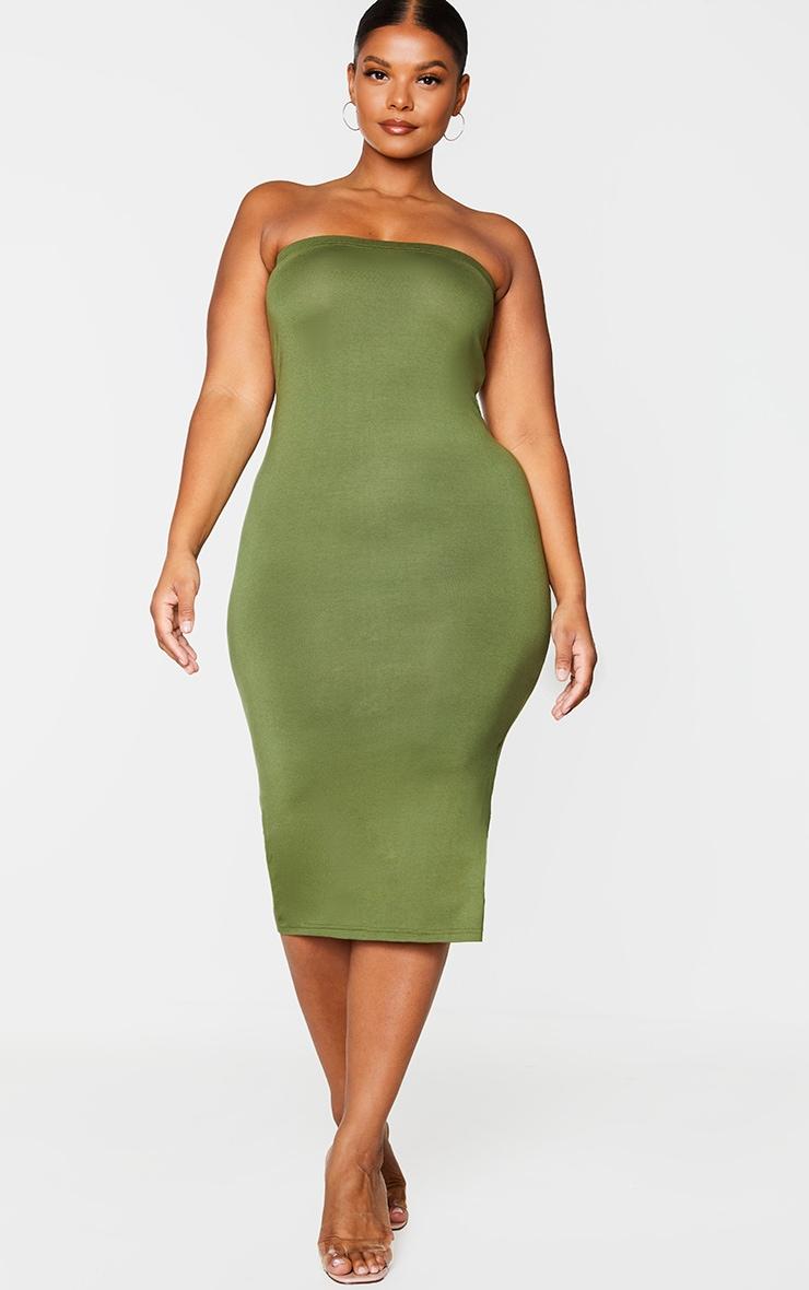 Plus Khaki Bandeau Midaxi Dress 3