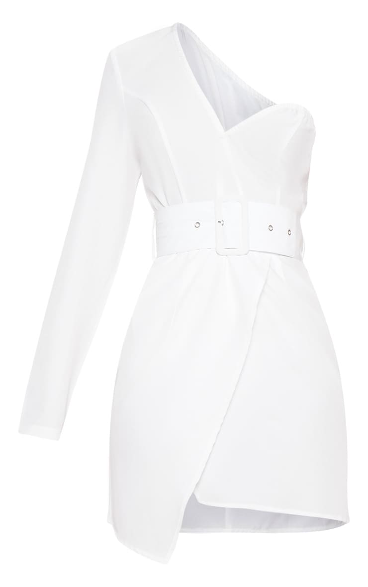 White One Shoulder Belted Bodycon Dress 3