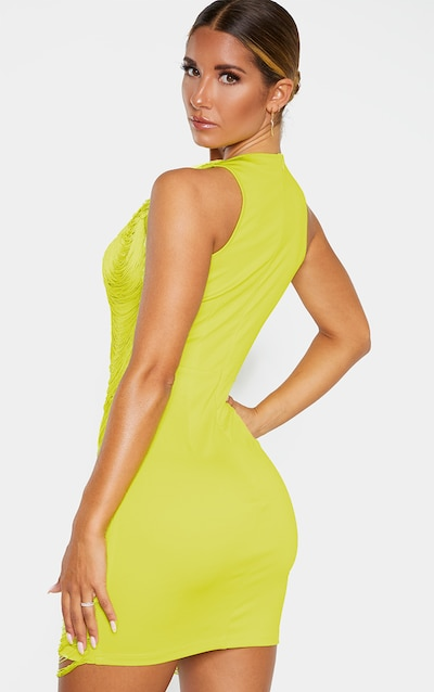 Lime Extreme Plunge Tassel Bodycon Dress