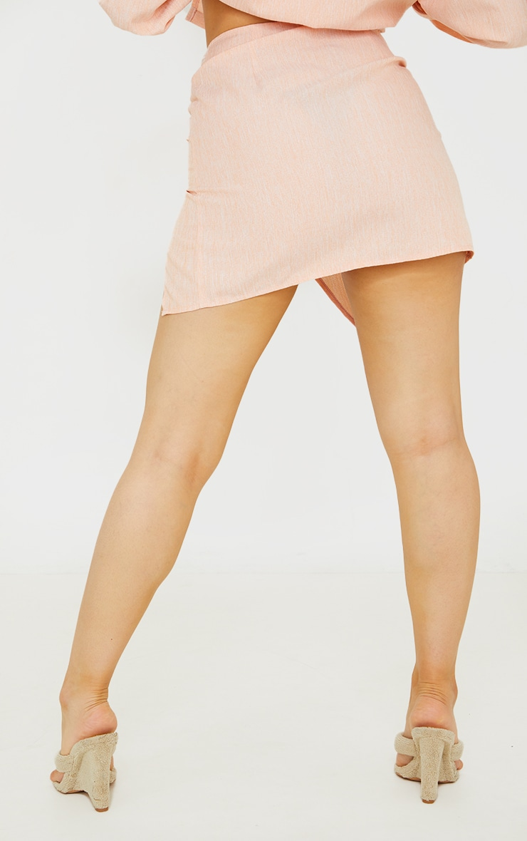 Petite Coral Ruched Bodycon Skirt 3