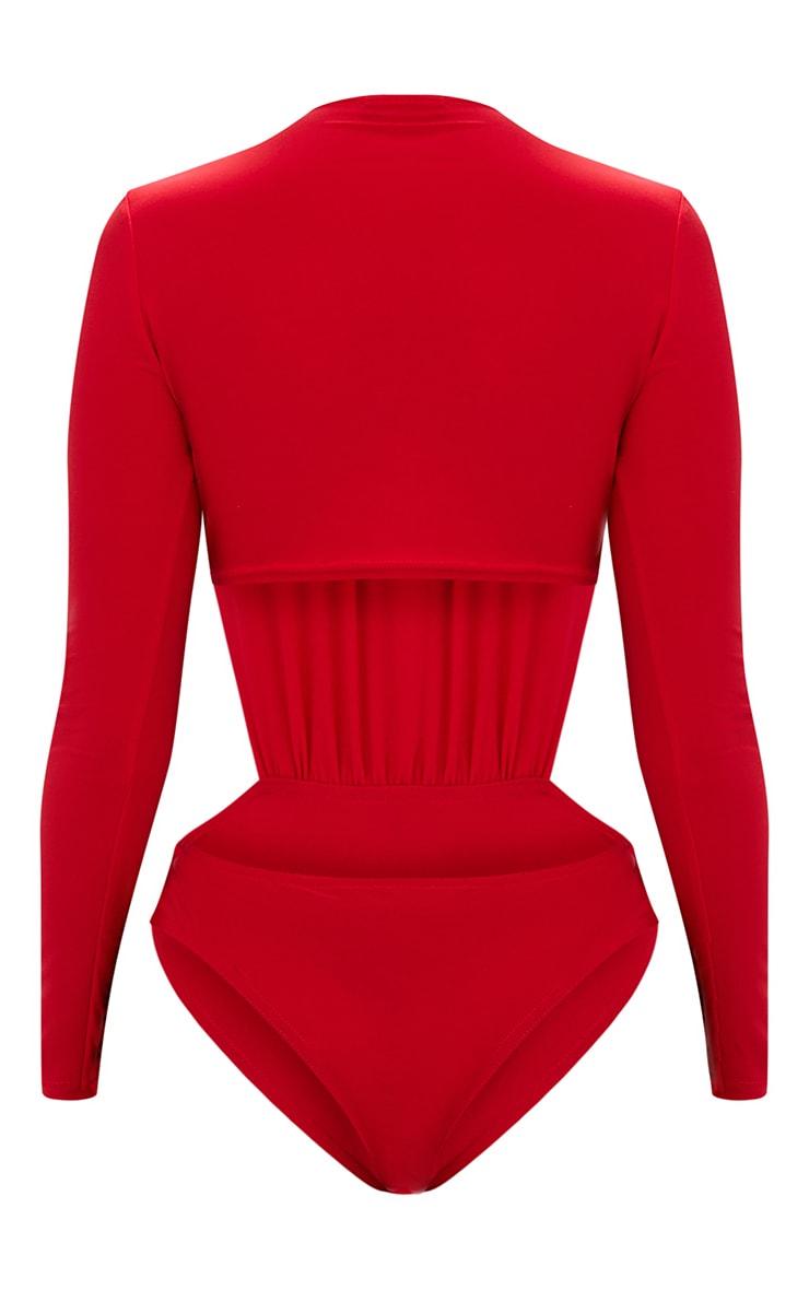 Dark Red Slinky Cut Out Side Longsleeve Thong Bodysuit 3