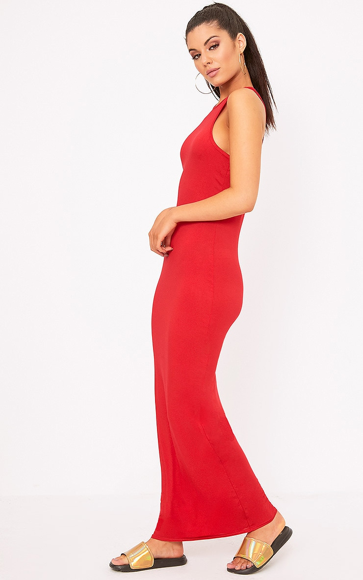 Red Jersey High Neck Maxi Dress  4