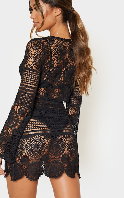 Black Crochet Lace Tie Detail Crop Blouse
