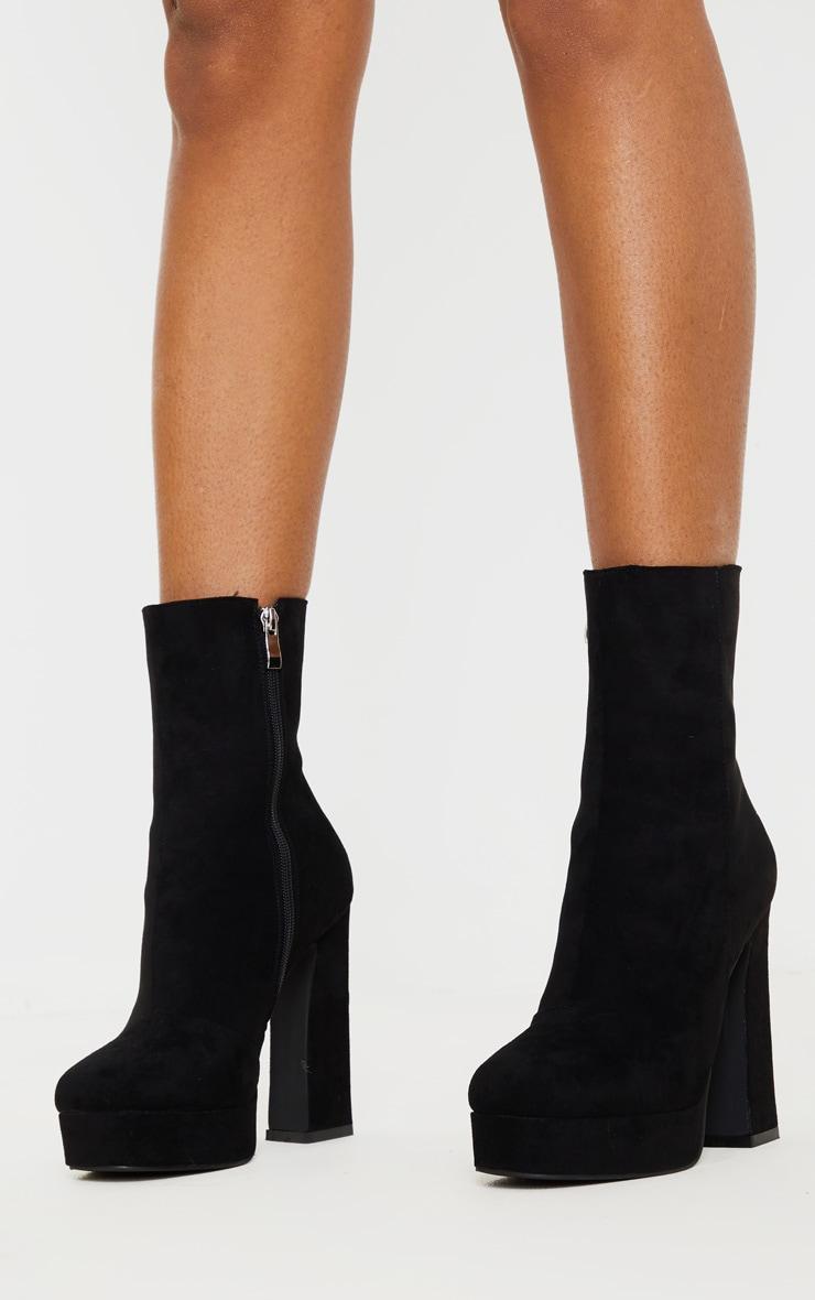 Black Faux Suede High Platform Ankle Boot 2