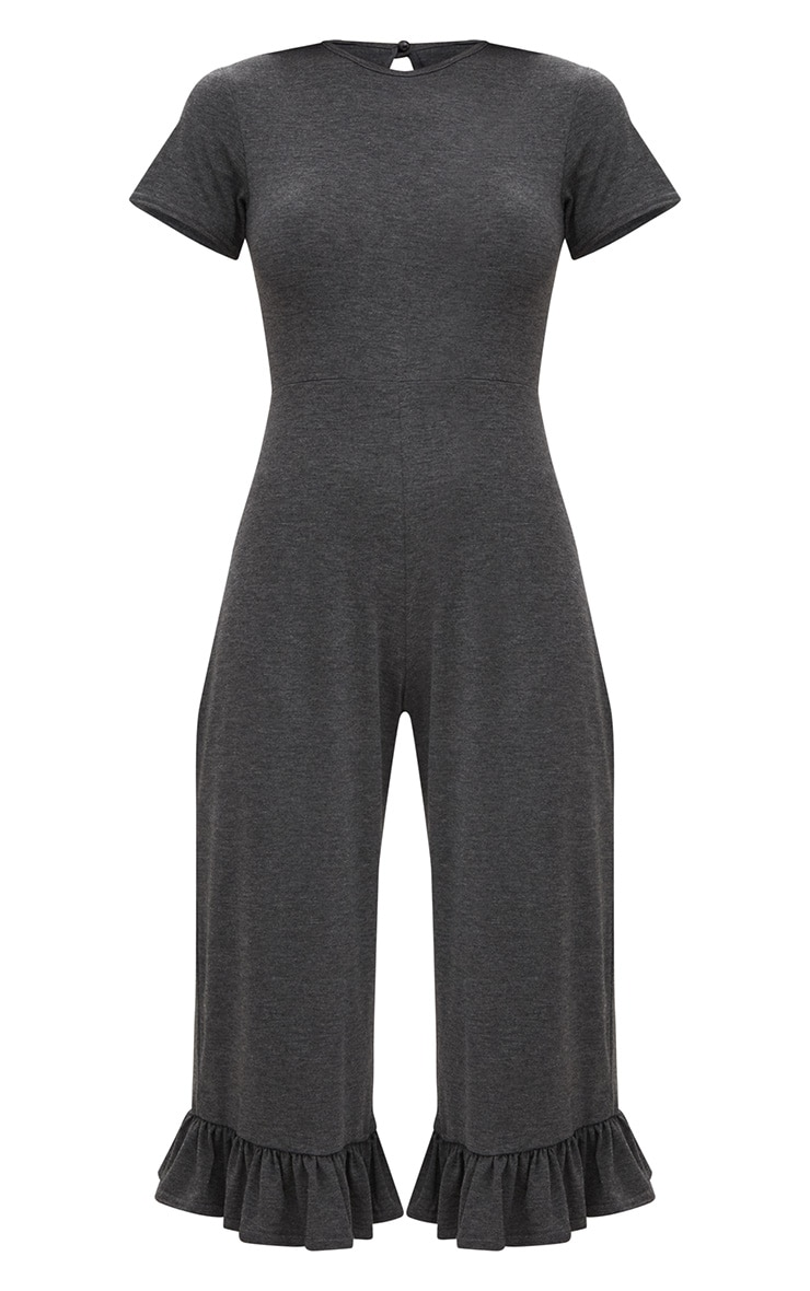 Charcoal Short Sleeve Frill Hem Culotte Jumpsuit  3
