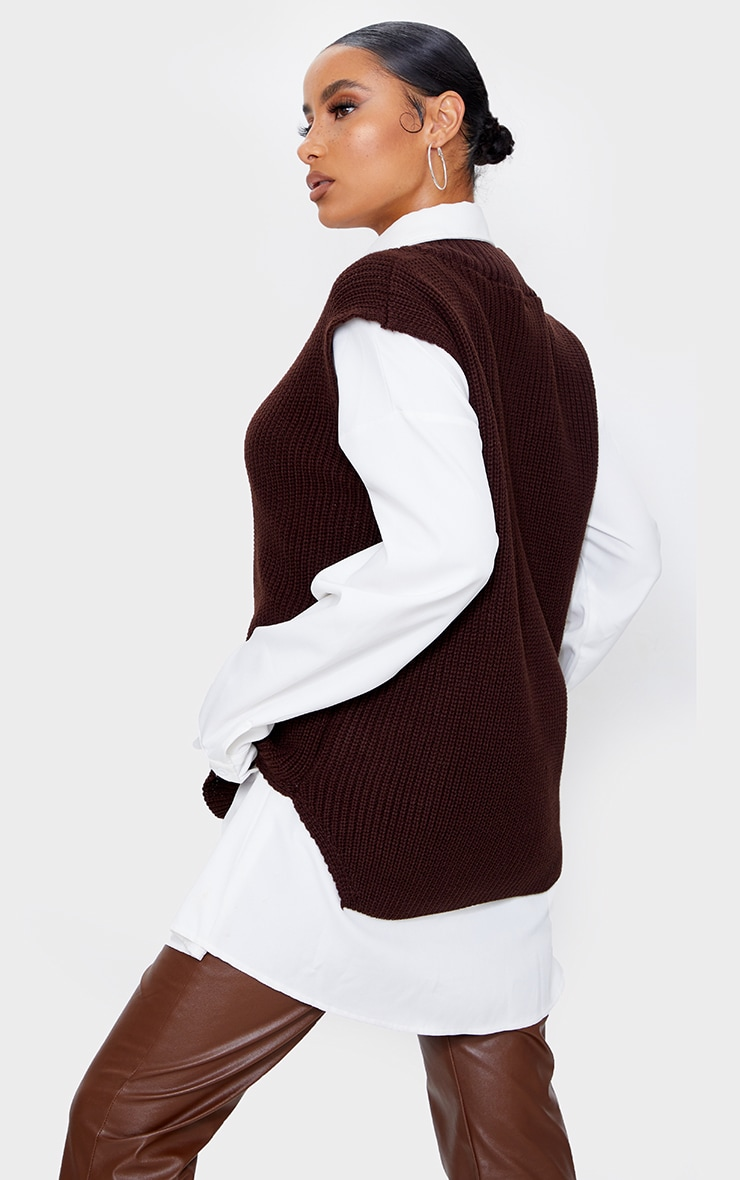 Chocolate V Neck Knitted Side Split Vest 2