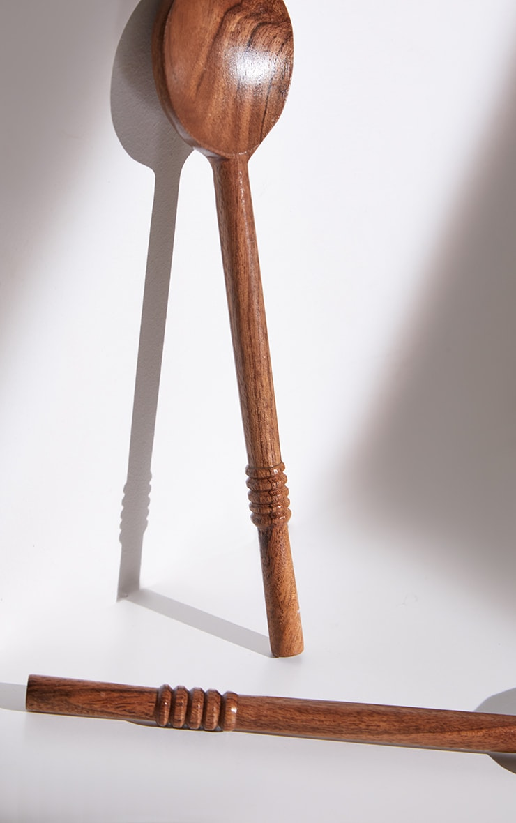 Brown Wooden Serving Spoons 5