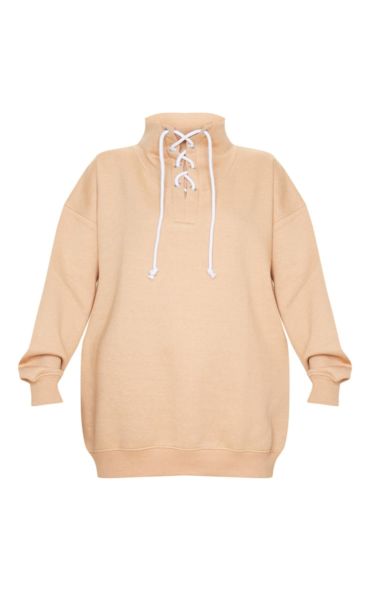 Sand Lace Up High Neck Sweater 3