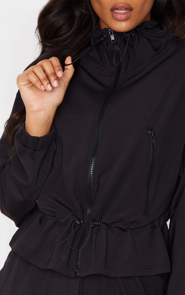Black Soft Touch Funnel Neck Toggle Zip Front Sweater 5