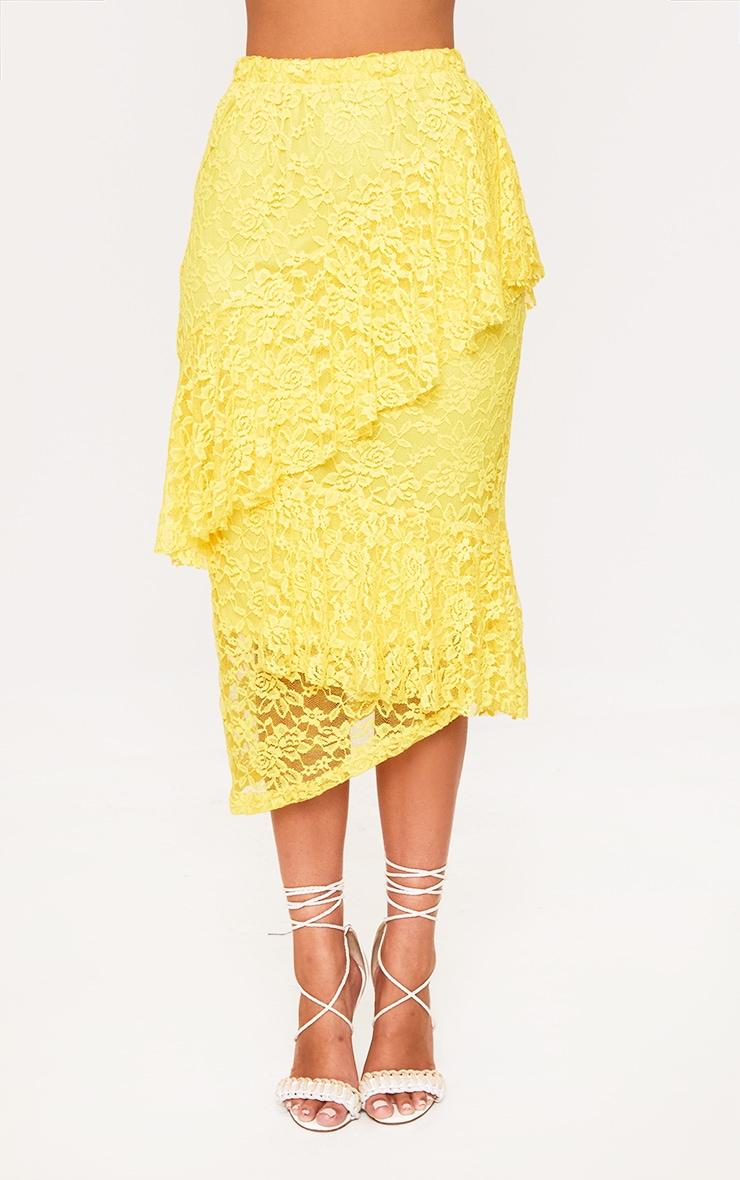 Yellow Asymmetric Long Line Lace Midi Skirt 2