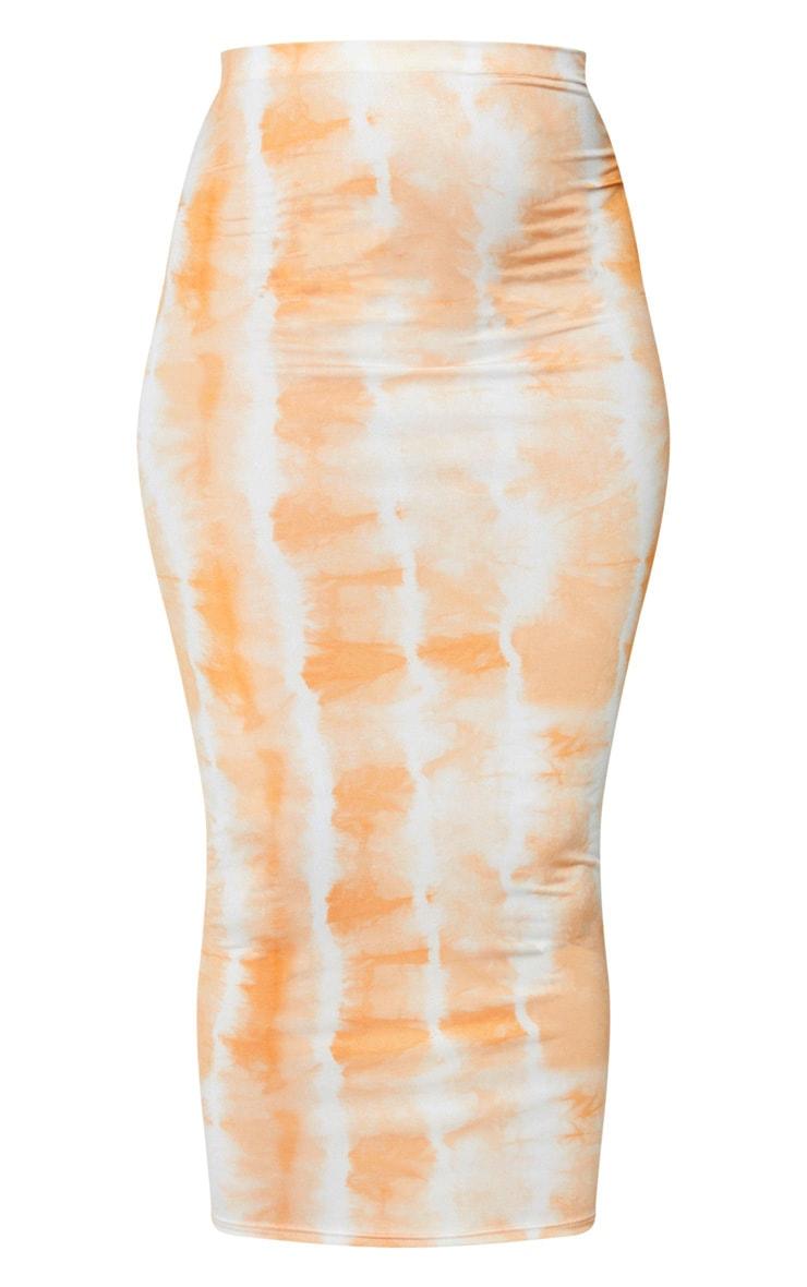 Orange Tie Dye Print Second Skin Slinky Longline Midi Skirt 5