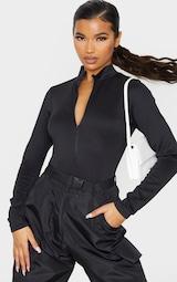 Black Bonded Scuba High Neck Zip Bodysuit 7