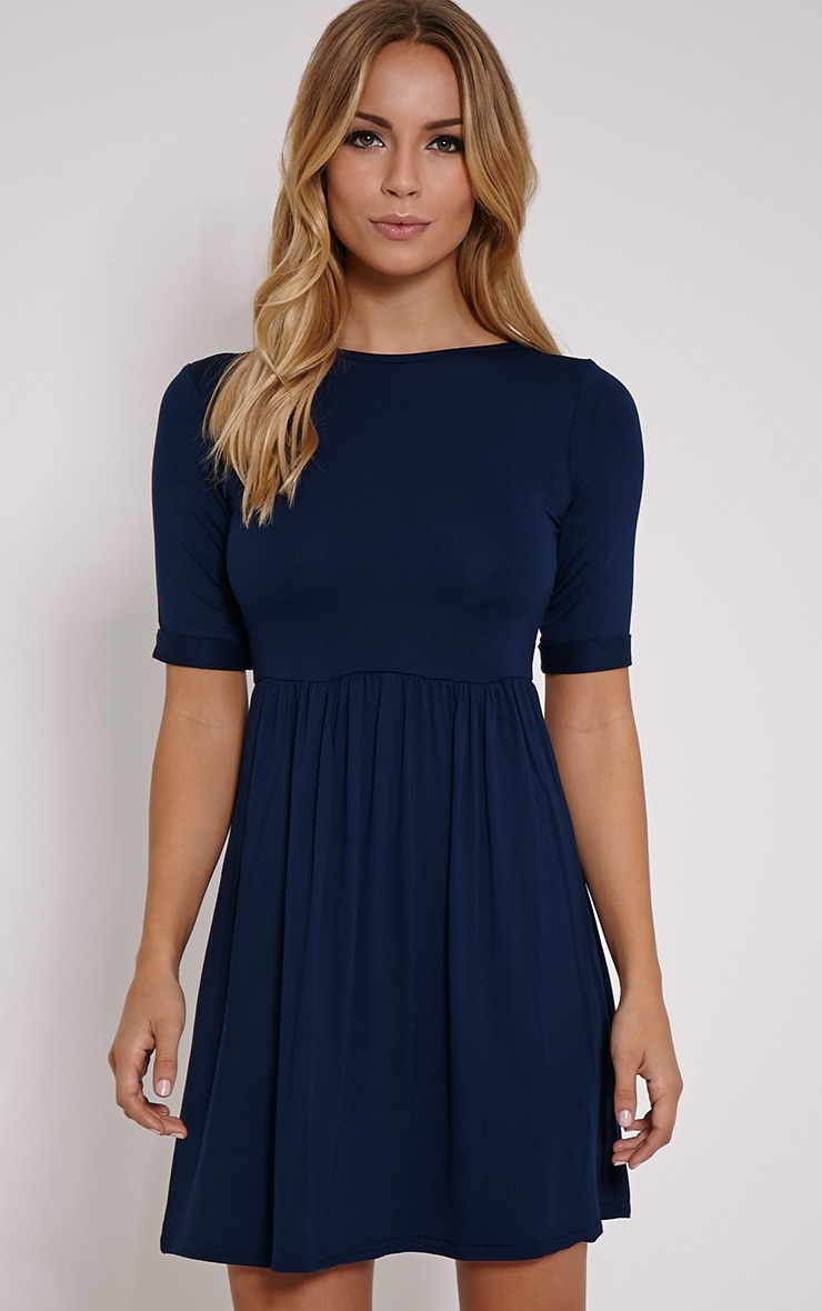 Basic Navy 3/4 Scoop Back Jersey Skater Dress 1