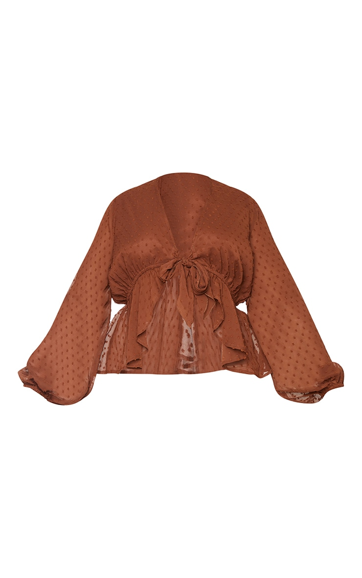 Plus Chocolate Dobby Mesh Tie Front Blouse 5