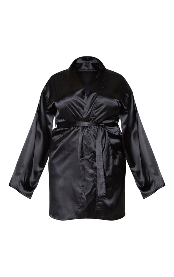 Plus Black Satin Robe 5