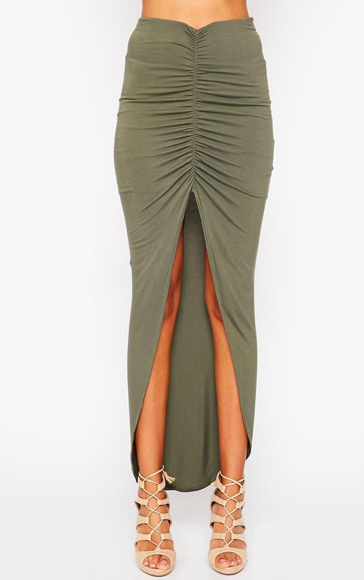 Omari Khaki Ruched Front Jersey Maxi Skirt 2