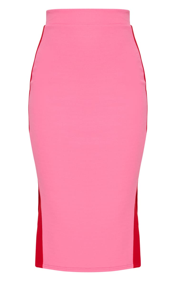 Hot Pink Contrast Side Stripe Split Hem Midi Skirt 3