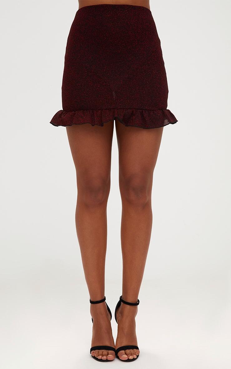 Red Glitter Frill Hem Mini Skirt 2
