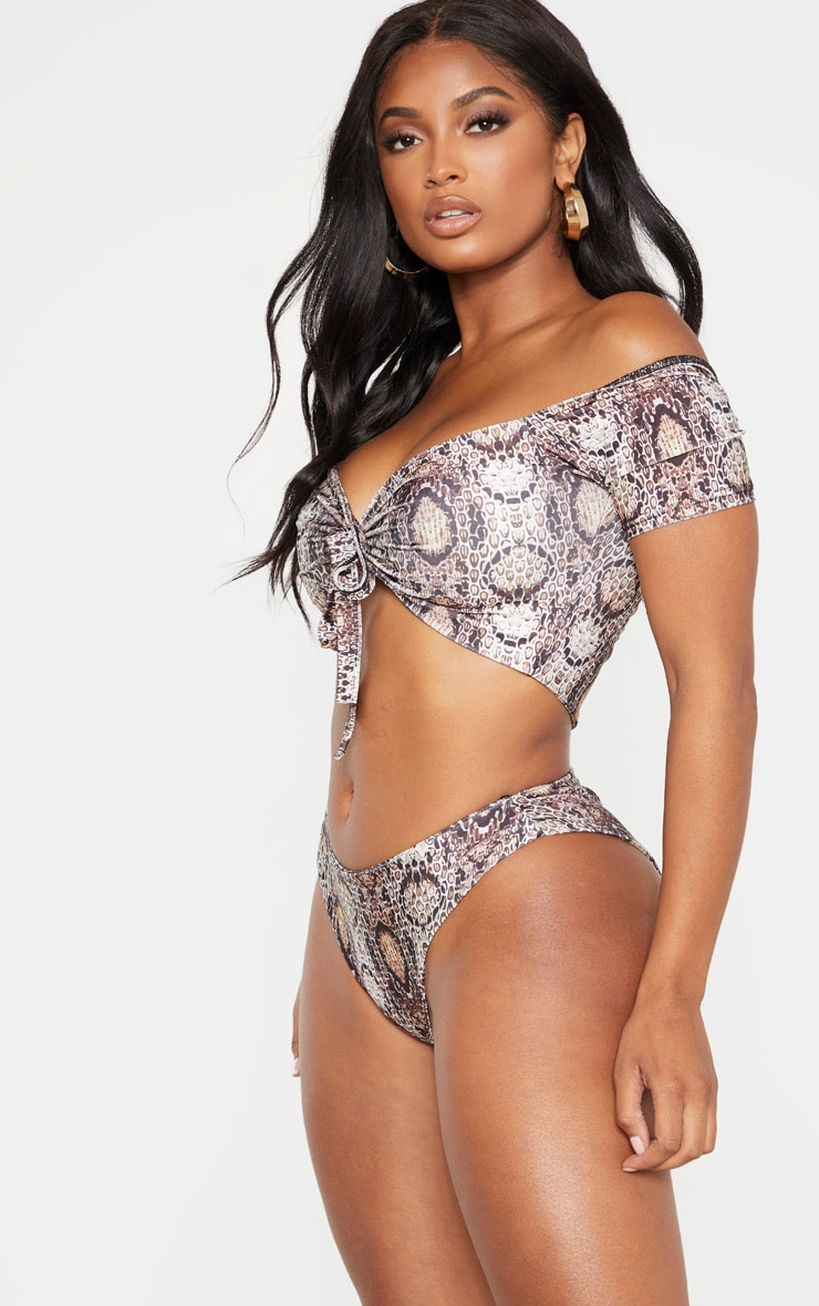 Shape Taupe Snake Print High Rise Bikini Bottoms 2