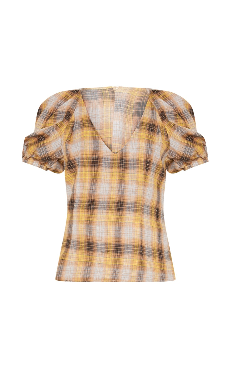 Mustard Check Puff Short Sleeve Top 3