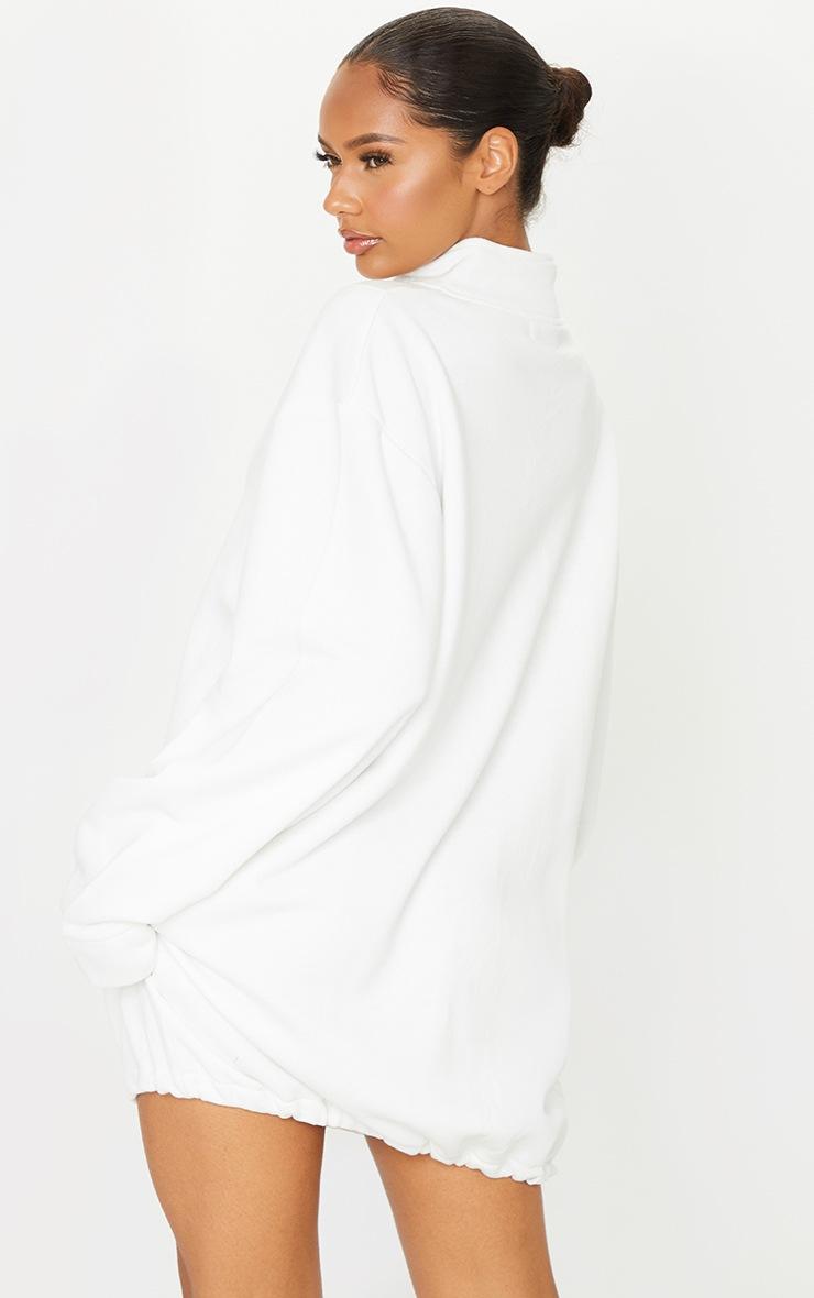 PRETTYLITTLETHING Ecru Slogan Zip Binding Detail Sweat Jumper Dress 2