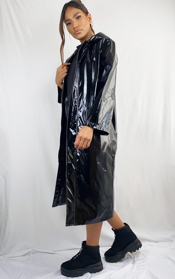 Black Vinyl Hooded Trench Coat 1