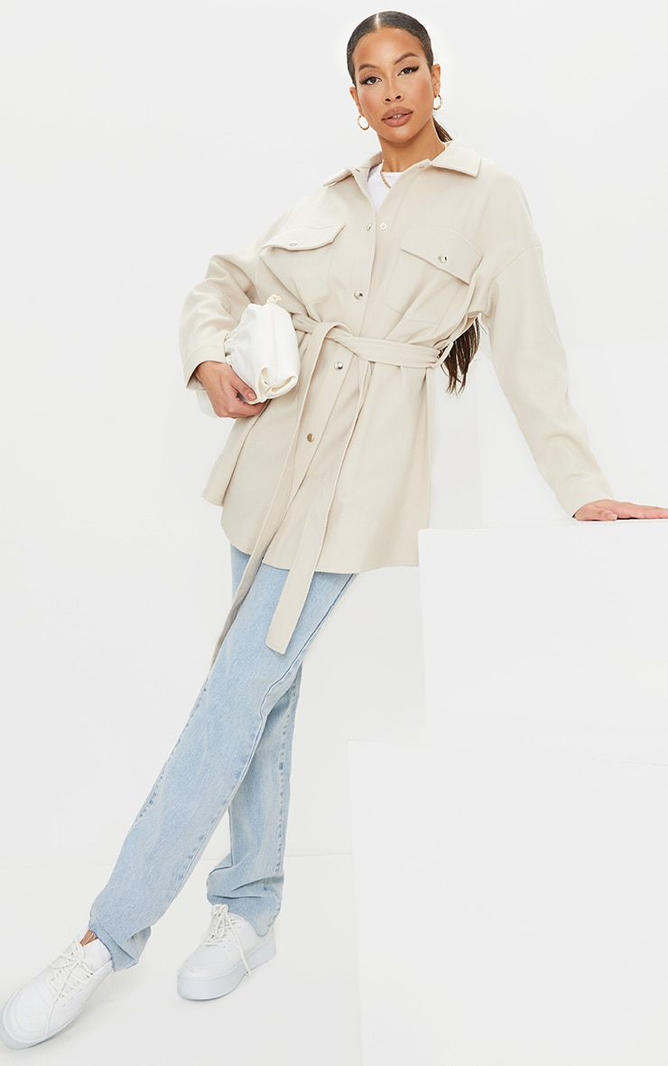Tall Cream Oversized Wrapped Shacket 3