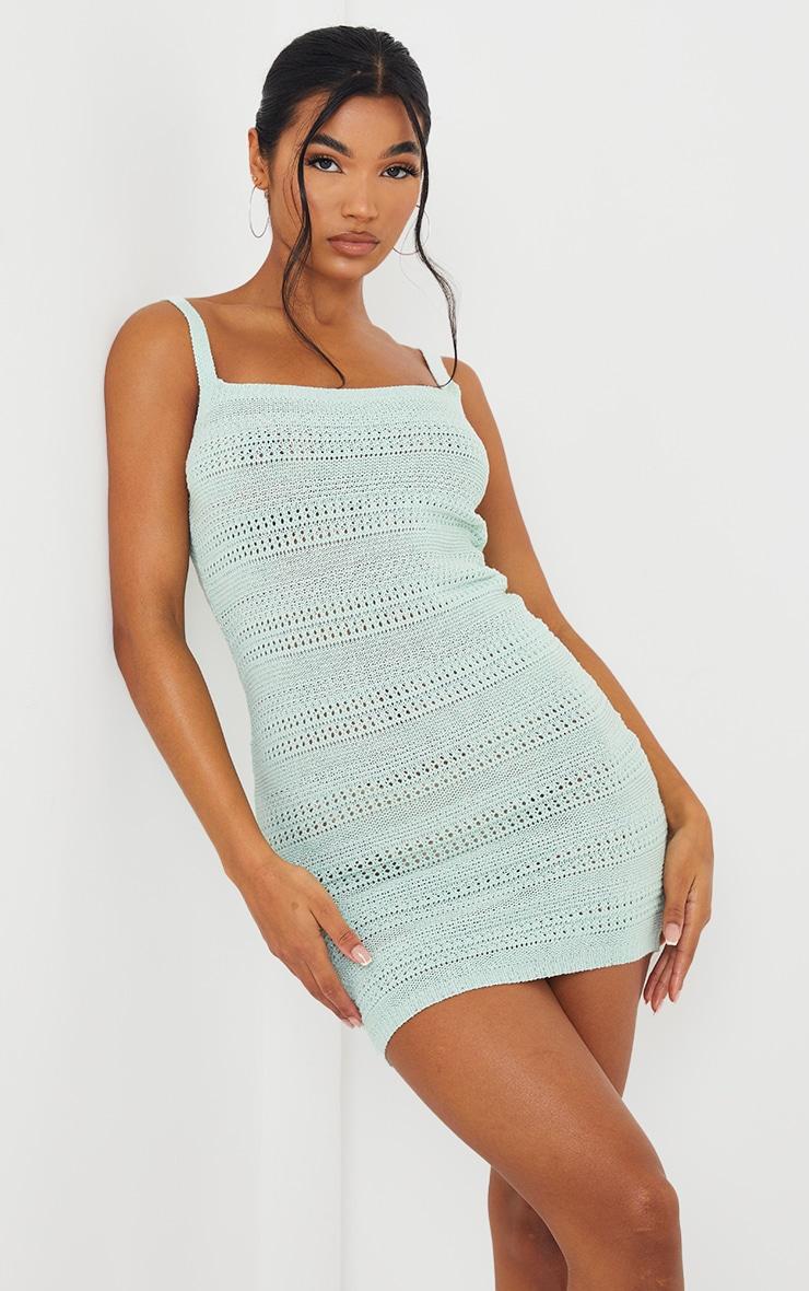 Mint Crochet Knitted Mini Dress 1