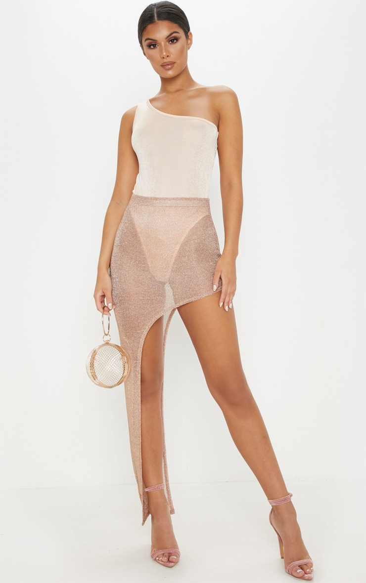 Nude One Shoulder Glitter Slinky Bodysuit 5