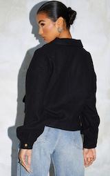Black Cropped Zip Detail Shacket 2
