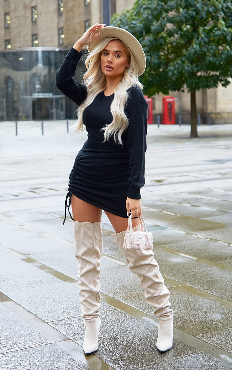 Black Long Sleeve Ruched Asymmetric Knitted Dress