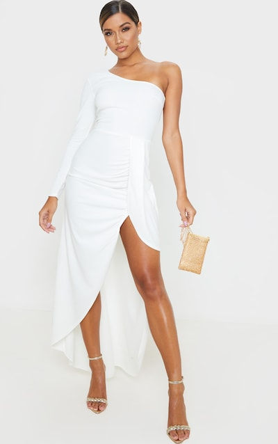 White One Shoulder Drape Skirt Maxi Dress