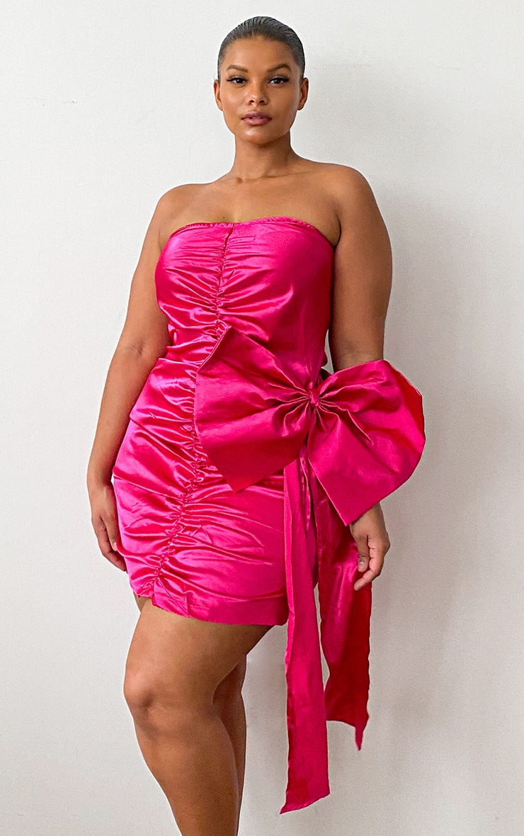 Plus Pink Satin Ruched Front Bow Detail Bodycon Dress 3