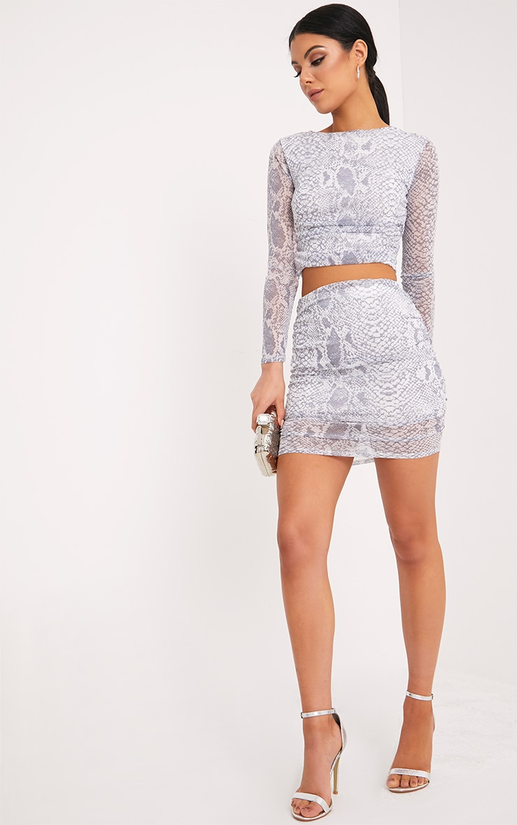 Dreis Grey Snake Print Chiffon Mini Skirt 5