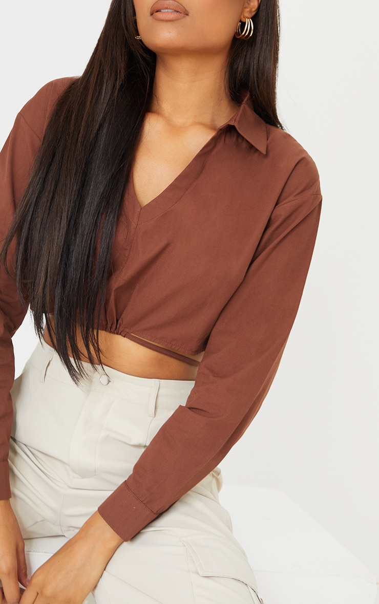 Chocolate Cotton Crop Tie Waist Long Sleeve Shirt 4