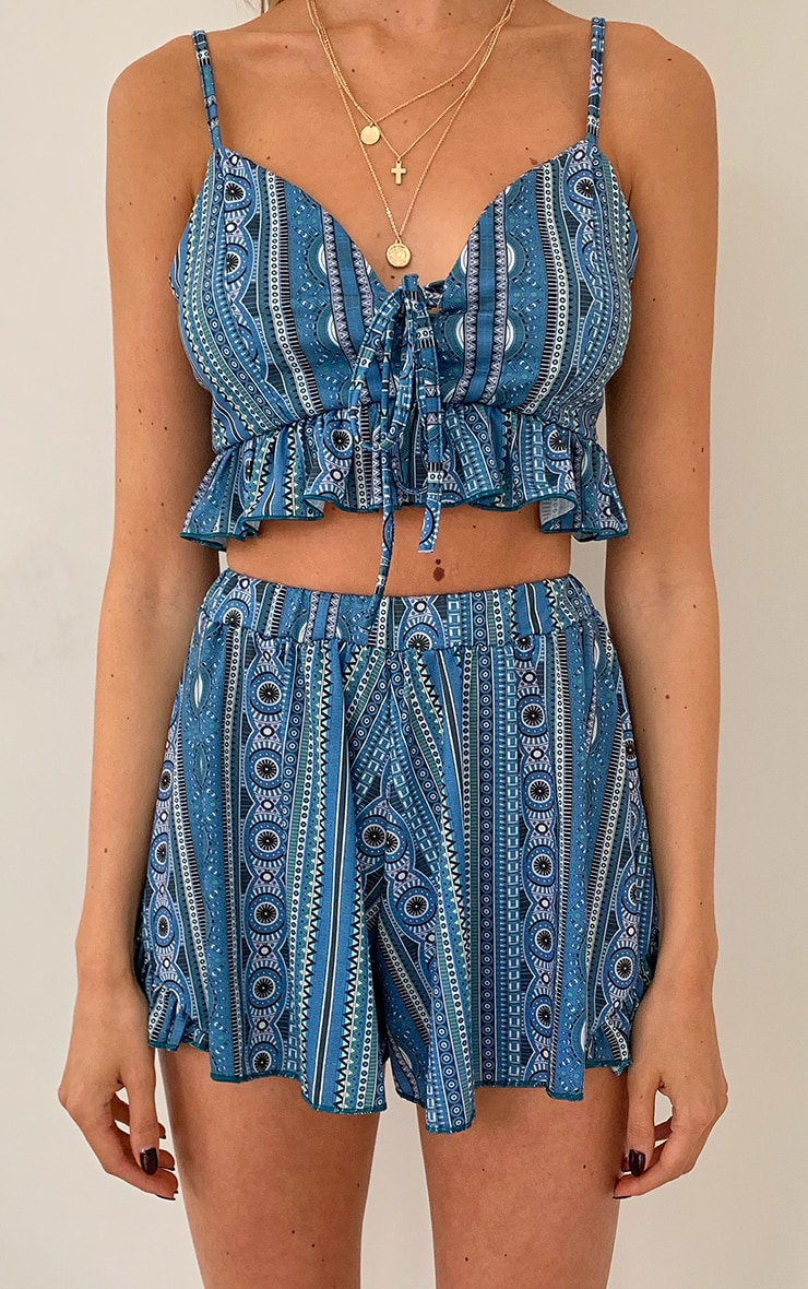 Blue Aztec Printed Frill Edge Floaty Shorts 4