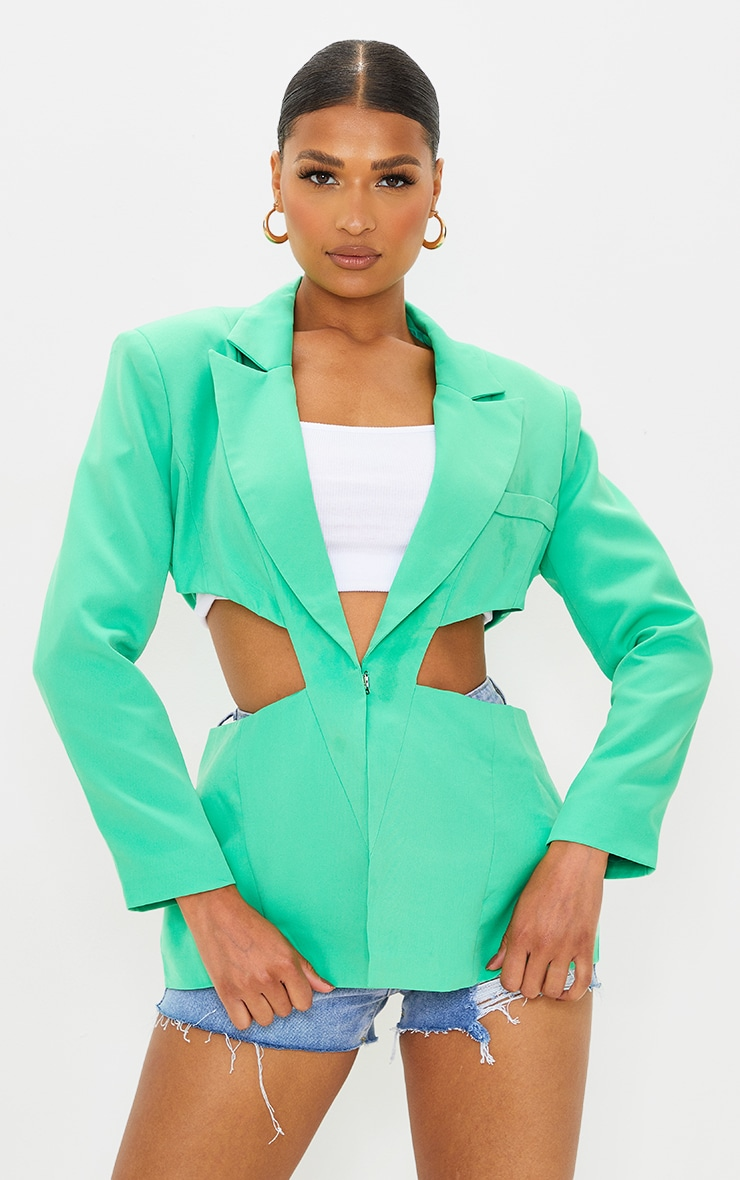 Green Woven Extreme Cut Out Blazer 3