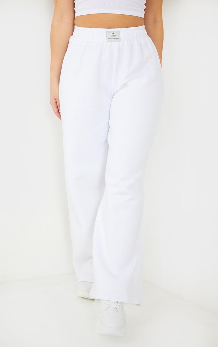 PRETTYLITTLETHING White Straight Leg Badge Detail Joggers 2