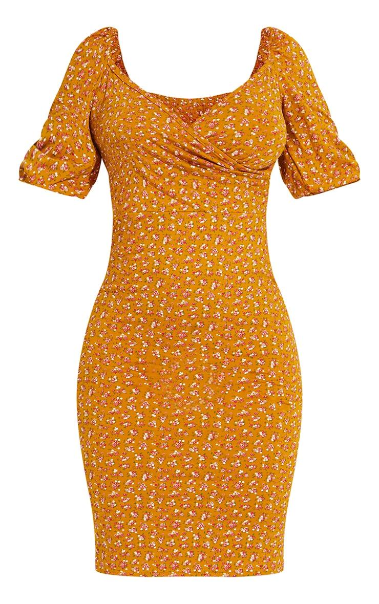 Mustard Ditsy Floral Print Wrap Puff Sleeve Midi Dress 5